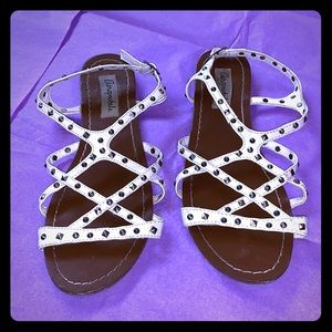 Aeropostale white strappy studded sandals